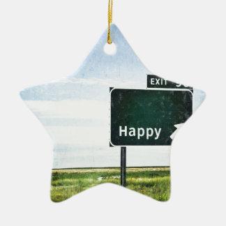 Happy Ceramic Ornament
