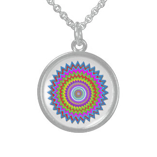 Happy Chakra Art : Sterling Silver Round Pendant Necklace