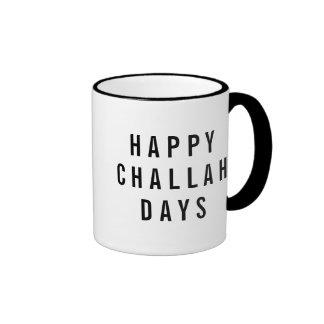 Happy Challah Days Cute Holiday Pun Ringer Coffee Mug