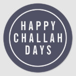 "Happy Challah Days Funny Blue & White Holiday Classic Round Sticker<br><div class=""desc"">Finish off your holiday cards,  invitations and gifts with these cute,  funny stickers! Dark midnight blue seals feature ""Happy Challah Days"" in modern block white typeface. Super cute for Hanukkah or for pun lovers!</div>"