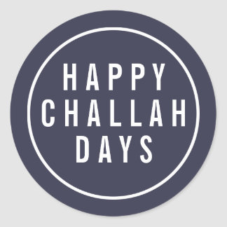 Happy Challah Days Funny Blue & White Holiday Classic Round Sticker