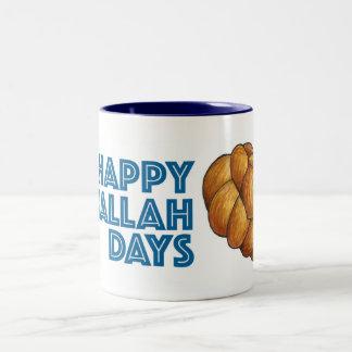 Happy Challah Days Hanukkah Chanukah Bread Loaf Two-Tone Coffee Mug