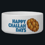 """Happy Challah Days Jewish Holiday Hanukkah Bread Bowl<br><div class=""""desc"""">Pet bowl features an original marker illustration of a loaf of challah bread,  with HAPPY CHALLAH DAYS in a fun blue font. Great for Hanukkah!  Don&#39;t see what you&#39;re looking for? Need help with customization? Contact Rebecca to have something designed just for you.</div>"""