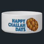 "Happy Challah Days Jewish Holiday Hanukkah Bread Bowl<br><div class=""desc"">Pet bowl features an original marker illustration of a loaf of challah bread,  with HAPPY CHALLAH DAYS in a fun blue font. Great for Hanukkah!  Don&#39;t see what you&#39;re looking for? Need help with customization? Contact Rebecca to have something designed just for you.</div>"