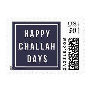 Happy Challah Days | Modern Blue & White Hanukkah Postage at Zazzle