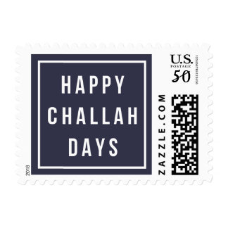 Happy Challah Days | Modern Blue & White Hanukkah Postage
