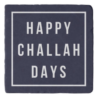 Happy Challah Days   Modern Hanukkah Navy & White Trivet
