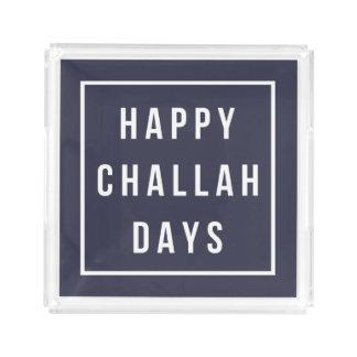 Happy Challah Days   Modern Navy & White Hanukkah Serving Tray