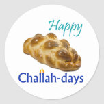 """Happy Challah-days Round Stickers<br><div class=""""desc"""">Celebrate the Challah-days! Works for any Jewish holiday (except Passover and Yom Kippur... ).</div>"""