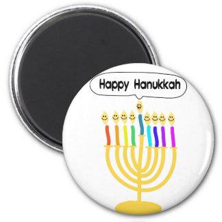 Happy Channukah Menora / Chanukia 2 Inch Round Magnet