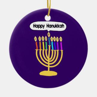 Happy Channukah Menora / Chanukia Ceramic Ornament