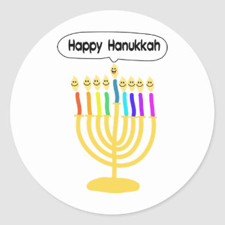 Happy Channukah Menora / Chanukia Classic Round Sticker