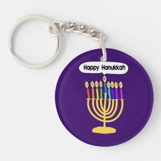 Happy Channukah Menora / Chanukia Double-Sided Round Acrylic Keychain