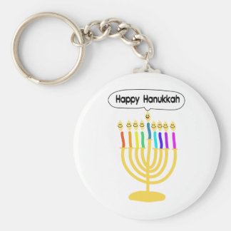 Happy Channukah Menora / Chanukia Basic Round Button Keychain