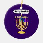 Happy Channukah Menora / Chanukia Double-Sided Ceramic Round Christmas Ornament