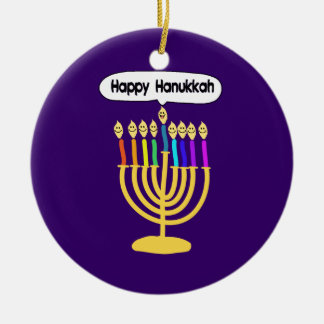 Happy Channukah Menora / Chanukia Double-Sided Ceramic Round Christmas Ornament