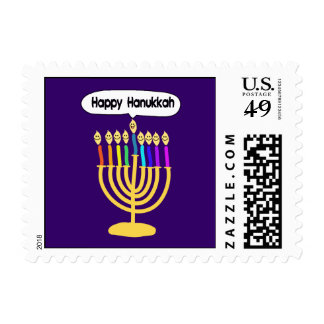 Happy Channukah Menora / Chanukia Postage Stamp