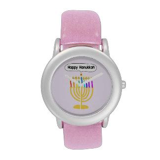 Happy Channukah Menorah Watches