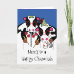 """Happy Chanukah and Happy Moo Year"" Greeting Card<br><div class=""desc"">""Here's to a Happy Chanukah and a Happy Moo Year"" Greeting Card with Envelope. To personalize this card simply delete text inside and out and add your own words. Choose your favorite font style, color, size, and wording. Thanks for stopping and shopping by. Much appreciated!!! Happy Chanukah and a Happy...</div>"