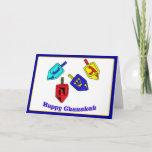 "Happy Chanukah Dreidels Holiday Card<br><div class=""desc"">Four Chanukah Dreidels in bright colors with the words Happy Chanukah underneath</div>"