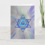 "Happy Chanukah Holiday Greeting Card<br><div class=""desc"">A digital collage Star of David of pretty pastel stripes,  a Chai symbol at the center,  on a pale starburst background.   Inside greeting,  &quot;Happy Chanukah!&quot; is a personalizable template.</div>"