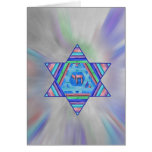 Happy Chanukah Holiday Greeting Card<br><div class='desc'>A digital collage Star of David of pretty pastel stripes,  a Chai symbol at the center,  on a pale starburst background.   Inside greeting,  &quot;Happy Chanukah!&quot; is a personalizable template.</div>