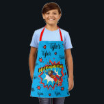 """Happy Chanukah Judah Hero Apron<br><div class=""""desc"""">Happy Chanukah Judah Maccabee Super Hero apon. Personalize by deleting text and adding your own. Use your favorite font style, color, and size. Be sure to choose size and strap color. All design elements can be transferred to other Zazzle products and edited. Happy Hanukkah! Thanks for stopping by. Much appreciated!...</div>"""