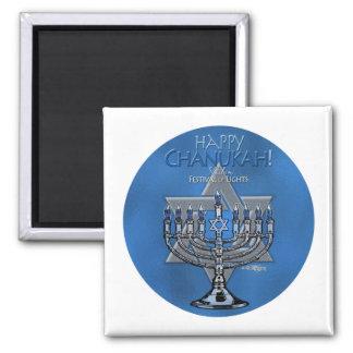 Happy Chanukah - Menora & Star of David 2 Inch Square Magnet