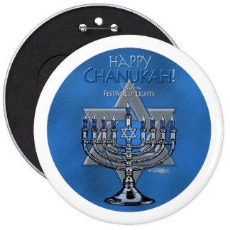 Happy Chanukah - Menora & Star of David 6 Inch Round Button