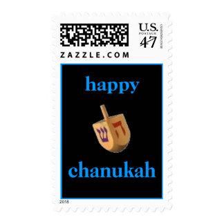happy chanukah stamp with dreidel