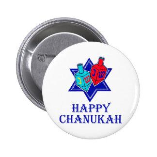 Happy Chanukah Star & Dreidel 2 Inch Round Button
