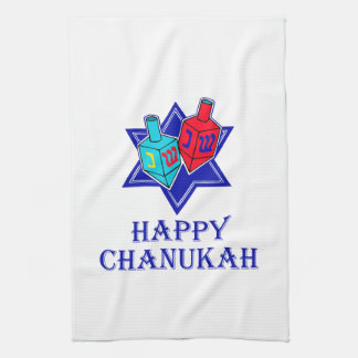 Happy Chanukah Star & Dreidel Hand Towel