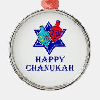 Happy Chanukah Star & Dreidel Metal Ornament