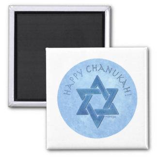 Happy Chanukah - Star of David 2 Inch Square Magnet