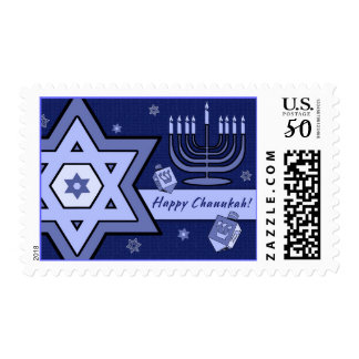 Happy Chanukah Star of David and Menorah Design Postage