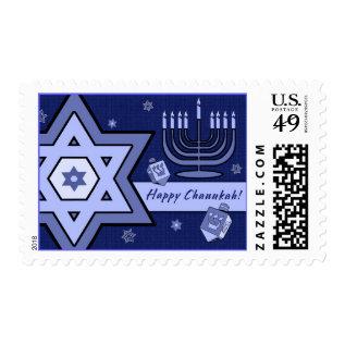 Happy Chanukah Star Of David And Menorah Design Postage at Zazzle