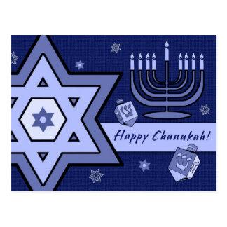 Happy Chanukah! Star of David and Menorah Design Postcard