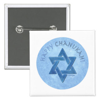 Happy Chanukah - Star of David 2 Inch Square Button