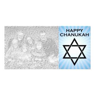 happy chanukah : star of david light burst picture card