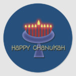 "Happy Chanukah stickers<br><div class=""desc"">Commemorate Chanukah with this striking menorah graphic design set against a dark blue background to emphasise the lit candles. This product is customizable, allowing you to add wording, images and/or your logo to it. Feel free to also re-size, re-position or even replace the template image with one of your own....</div>"