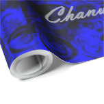 """Happy Chanukah Swirls Wrapping Paper<br><div class=""""desc"""">My swirls design in blue makes for a lovely background.</div>"""