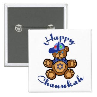 Happy Chanukah Teddy Bear 2 Inch Square Button