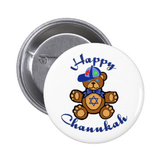 Happy Chanukah Teddy Bear 2 Inch Round Button