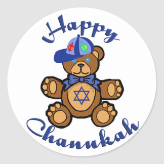 Happy Chanukah Teddy Bear Classic Round Sticker