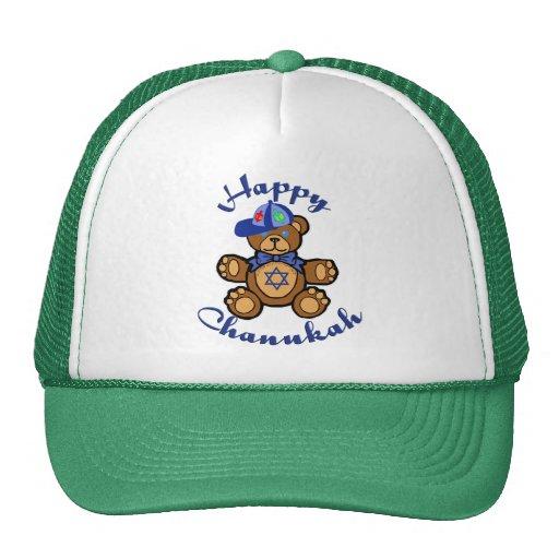 Happy Chanukah Teddy Bear Mesh Hats