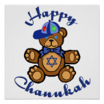 Happy Chanukah Teddy Bear Poster