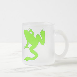 Happy Chartreuse Frogs Lucky Frog Green Silhouette Frosted Glass Coffee Mug