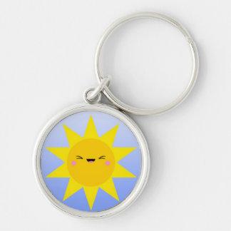 Happy Cheeky Sunshine on Blue Gradient Keychain