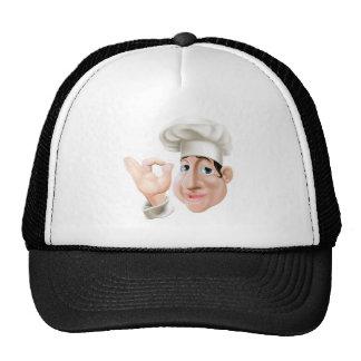 Happy chef doing okay gesture mesh hats