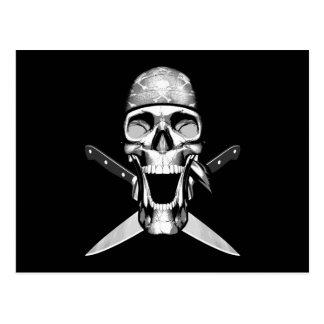 Happy Chef Skull V2 Knives Postcard